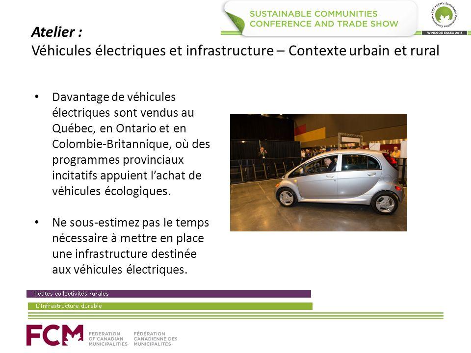 Atelier : Véhicules électriques et infrastructure – Contexte urbain et rural Davantage de véhicules électriques sont vendus au Québec, en Ontario et en Colombie-Britannique, où des programmes provinciaux incitatifs appuient lachat de véhicules écologiques.