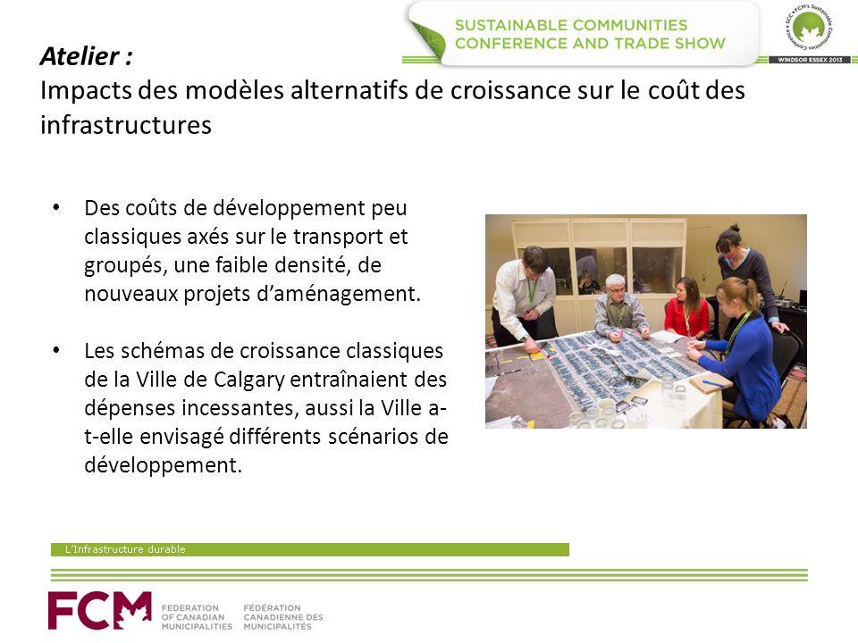 Atelier : Impacts des modèles alternatifs de croissance sur le coût des infrastructures Des coûts de développement peu classiques axés sur le transport et groupés, une faible densité, de nouveaux projets daménagement.