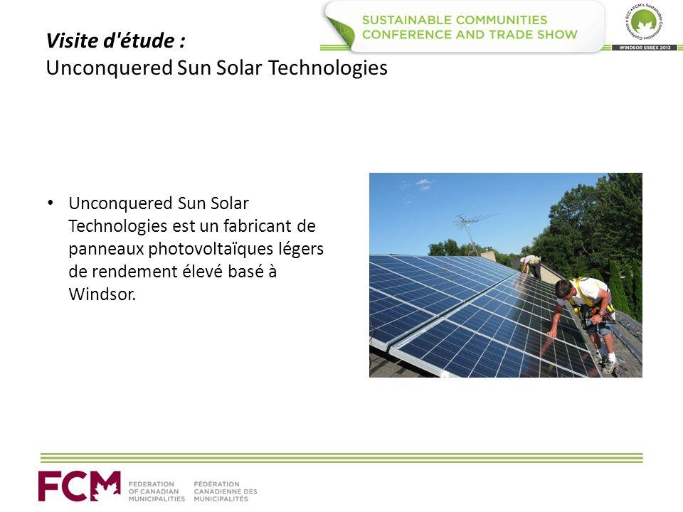Visite d étude : Unconquered Sun Solar Technologies Unconquered Sun Solar Technologies est un fabricant de panneaux photovoltaïques légers de rendement élevé basé à Windsor.