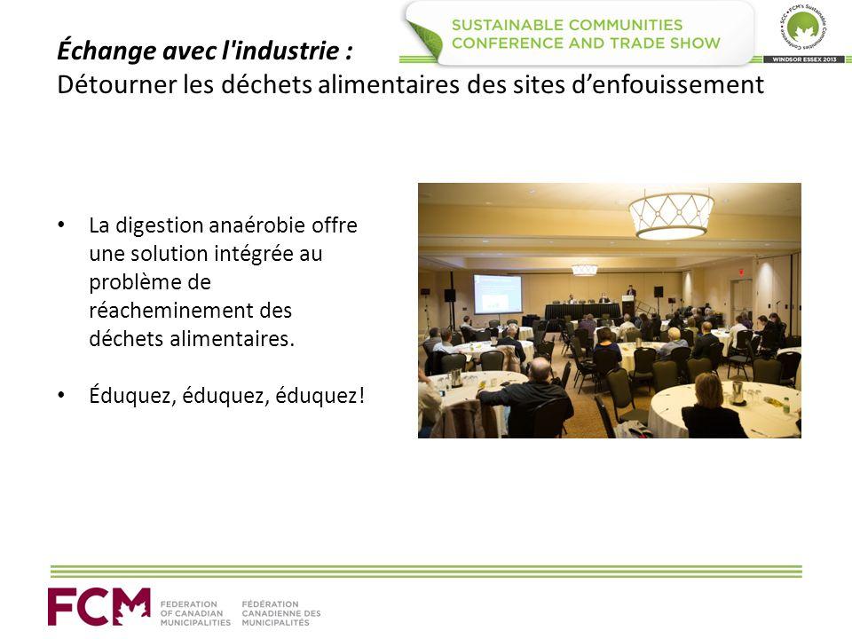 Échange avec l'industrie : Détourner les déchets alimentaires des sites denfouissement La digestion anaérobie offre une solution intégrée au problème