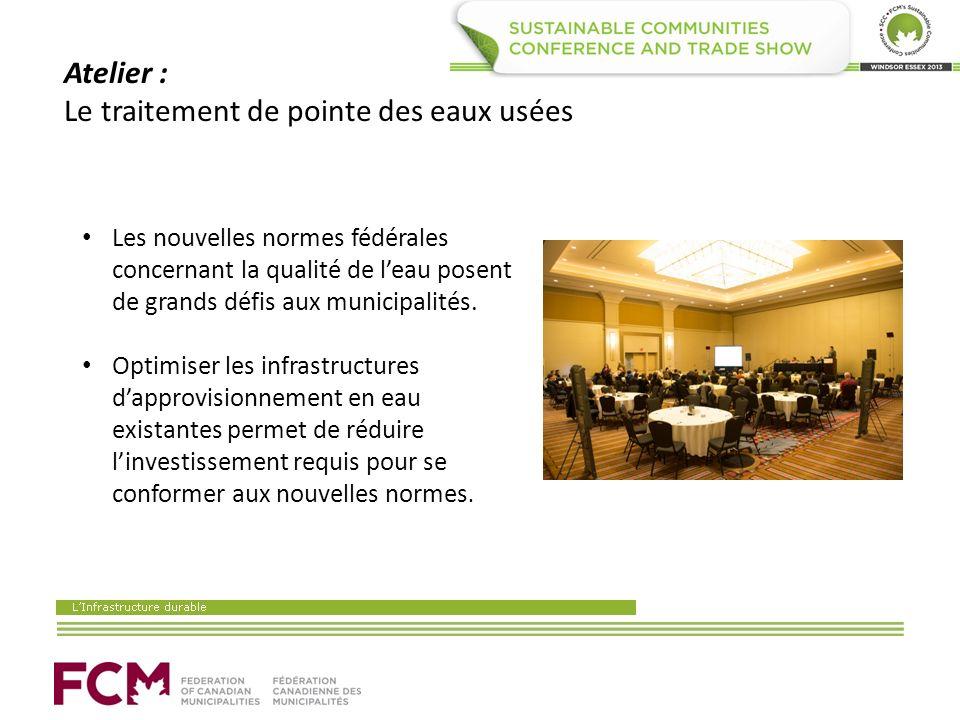 Atelier : Le traitement de pointe des eaux usées Les nouvelles normes fédérales concernant la qualité de leau posent de grands défis aux municipalités.