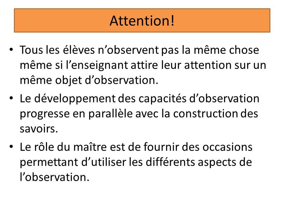 Attention! Tous les élèves nobservent pas la même chose même si lenseignant attire leur attention sur un même objet dobservation. Le développement des