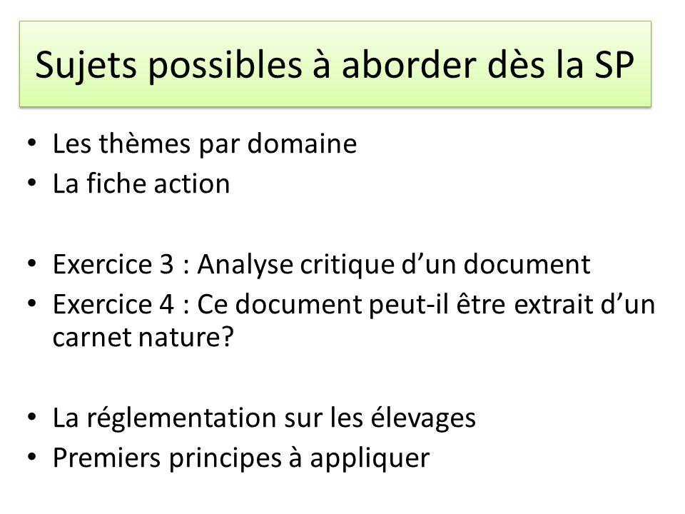Sujets possibles à aborder dès la SP Les thèmes par domaine La fiche action Exercice 3 : Analyse critique dun document Exercice 4 : Ce document peut-i