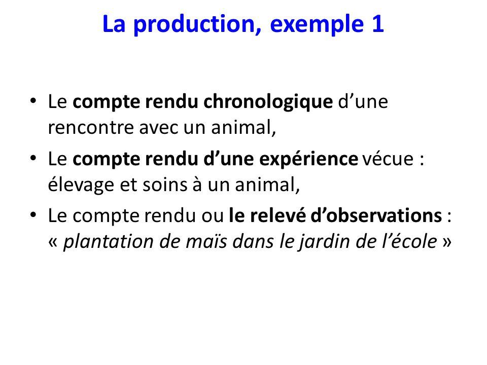 La production, exemple 1 Le compte rendu chronologique dune rencontre avec un animal, Le compte rendu dune expérience vécue : élevage et soins à un an