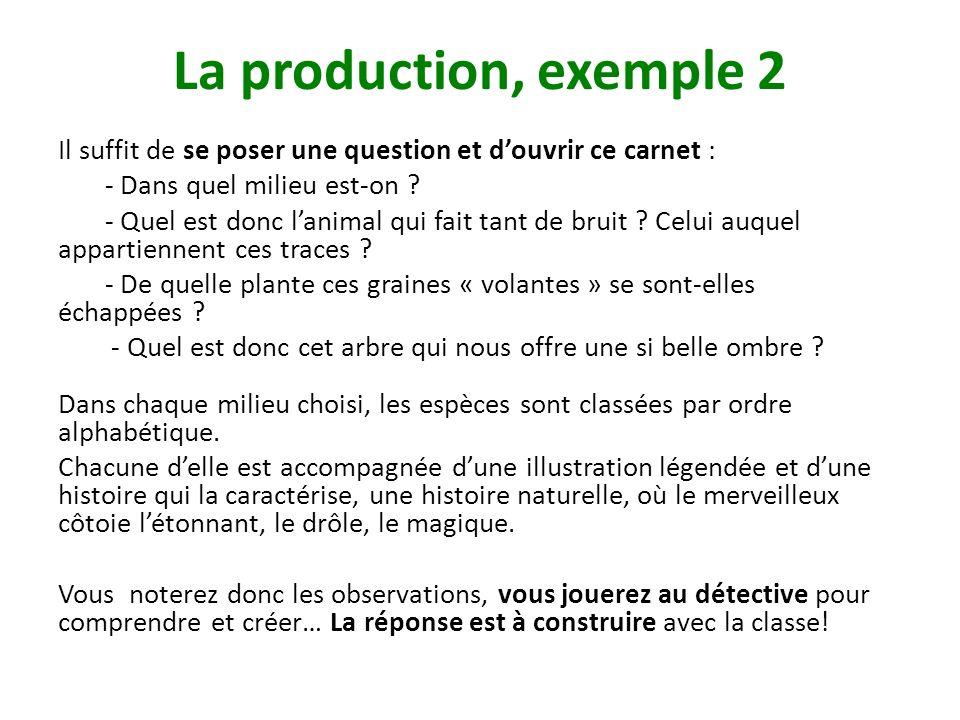 La production, exemple 2 Il suffit de se poser une question et douvrir ce carnet : - Dans quel milieu est-on ? - Quel est donc lanimal qui fait tant d