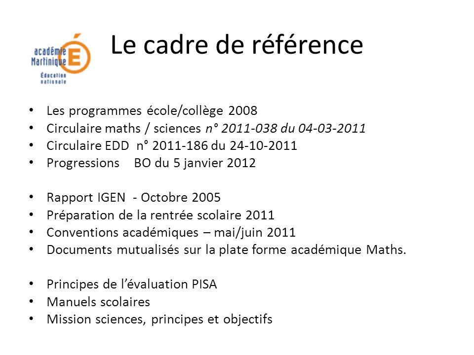 Le cadre de référence Les programmes école/collège 2008 Circulaire maths / sciences n° 2011-038 du 04-03-2011 Circulaire EDD n° 2011-186 du 24-10-2011