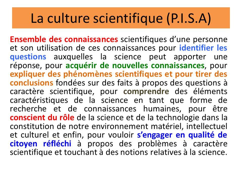 La culture scientifique (P.I.S.A) Ensemble des connaissances scientifiques dune personne et son utilisation de ces connaissances pour identifier les q