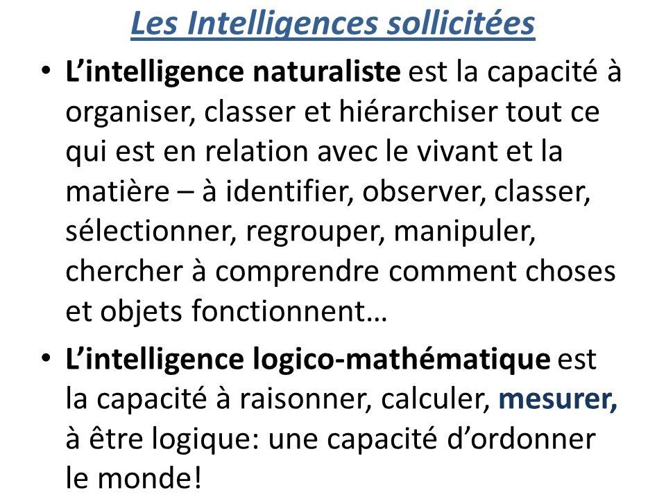 Les Intelligences sollicitées Lintelligence naturaliste est la capacité à organiser, classer et hiérarchiser tout ce qui est en relation avec le vivan