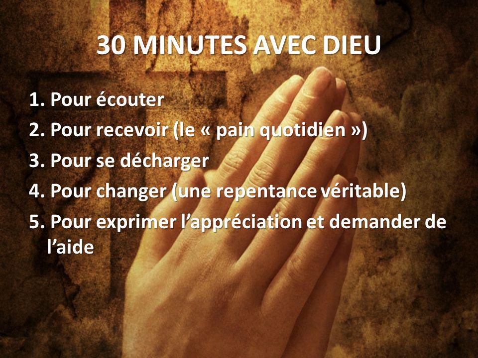 30 MINUTES AVEC DIEU 1.Pour écouter 2. Pour recevoir (le « pain quotidien ») 3.