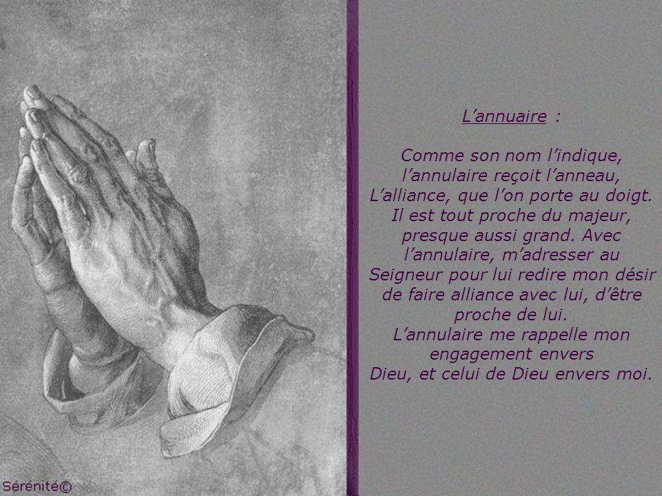 Lannuaire : Comme son nom lindique, lannulaire reçoit lanneau, Lalliance, que lon porte au doigt.