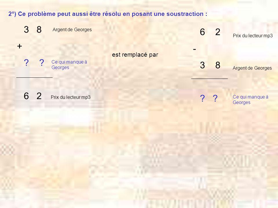 2°) Ce problème peut aussi être résolu en posant une soustraction : 3 8 + .