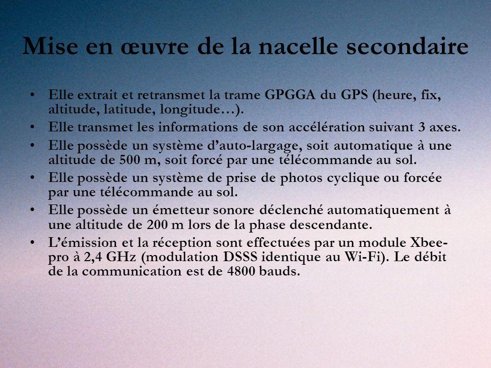Mise en œuvre de la nacelle secondaire Elle extrait et retransmet la trame GPGGA du GPS (heure, fix, altitude, latitude, longitude…).