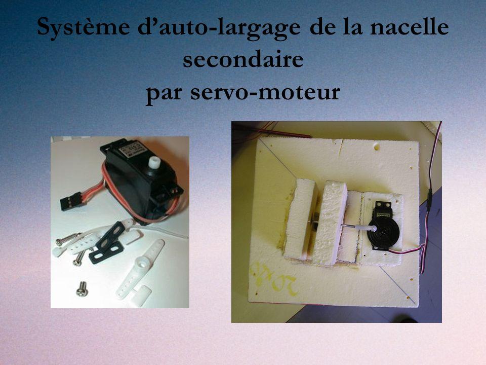 Système dauto-largage de la nacelle secondaire par servo-moteur