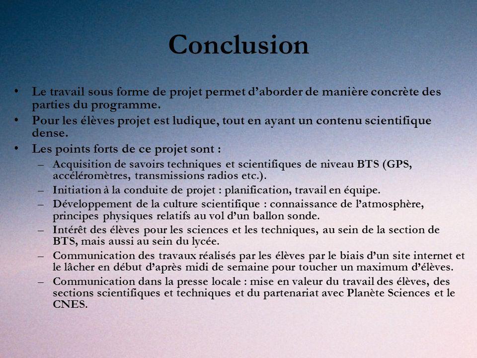 Conclusion Le travail sous forme de projet permet daborder de manière concrète des parties du programme.