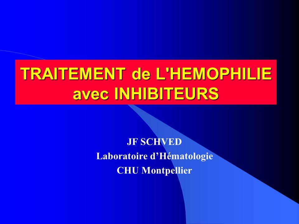 TRAITEMENT de L'HEMOPHILIE avec INHIBITEURS JF SCHVED Laboratoire dHématologie CHU Montpellier