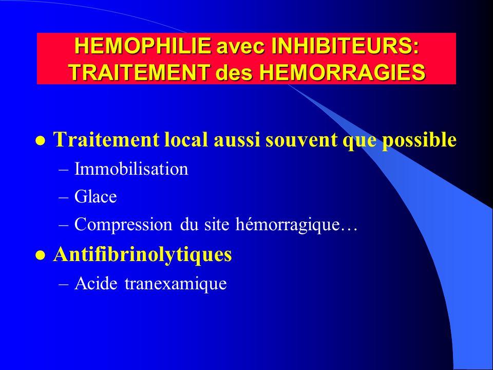 HEMOPHILIE avec INHIBITEURS: TRAITEMENT des HEMORRAGIES l Traitement local aussi souvent que possible –Immobilisation –Glace –Compression du site hémo