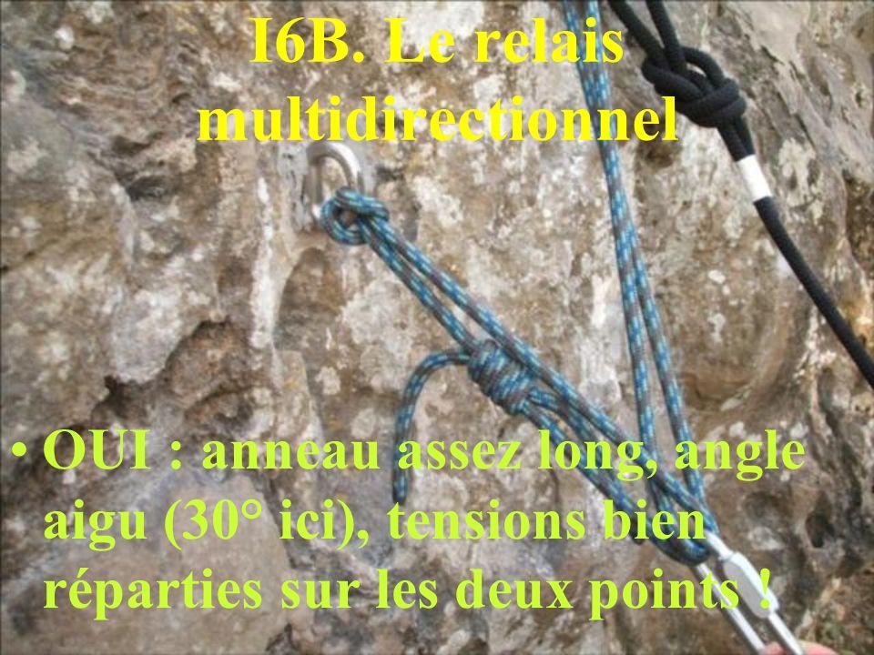 I6B. Le relais multidirectionnel OUI : anneau assez long, angle aigu (30° ici), tensions bien réparties sur les deux points !