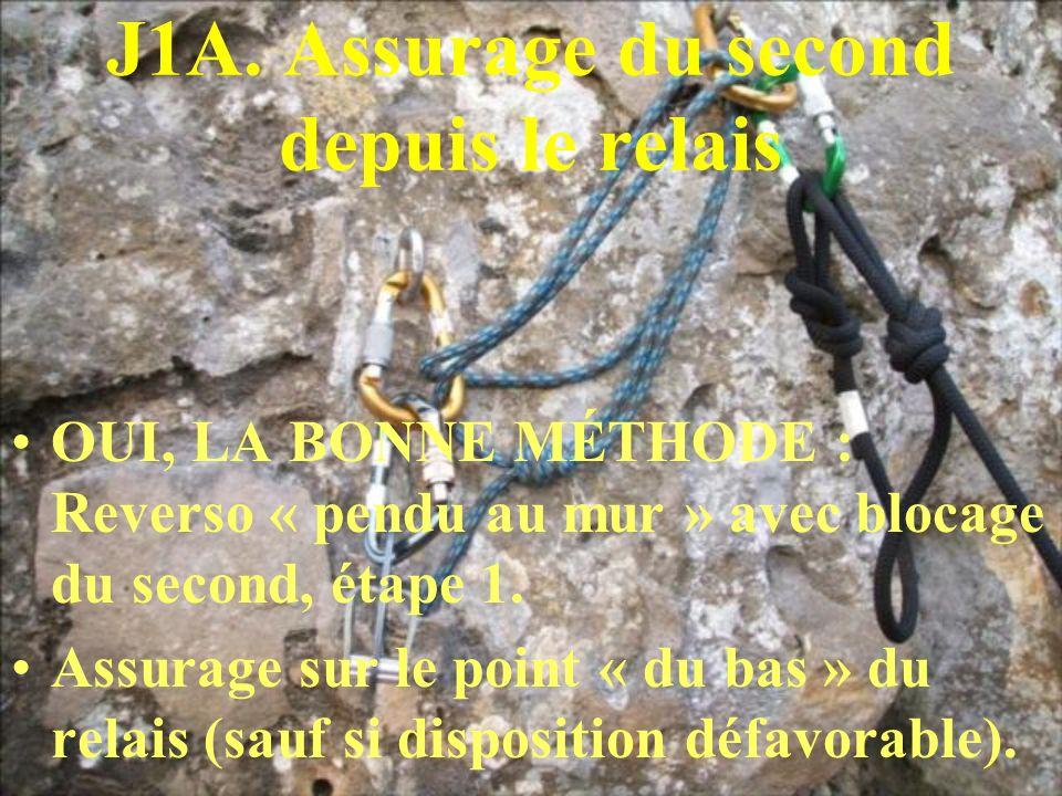 J1A. Assurage du second depuis le relais OUI, LA BONNE MÉTHODE : Reverso « pendu au mur » avec blocage du second, étape 1. Assurage sur le point « du