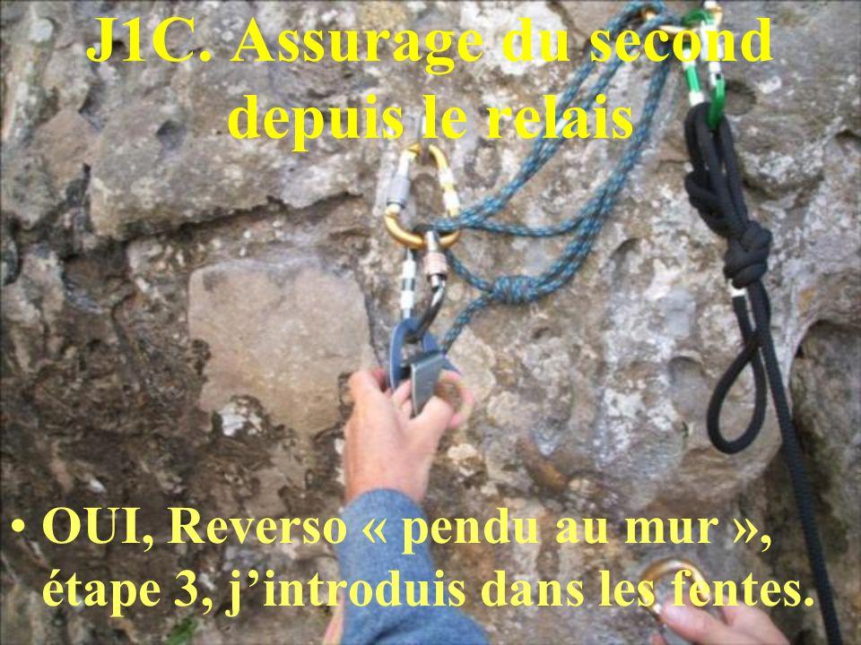 J1C. Assurage du second depuis le relais OUI, Reverso « pendu au mur », étape 3, jintroduis dans les fentes.