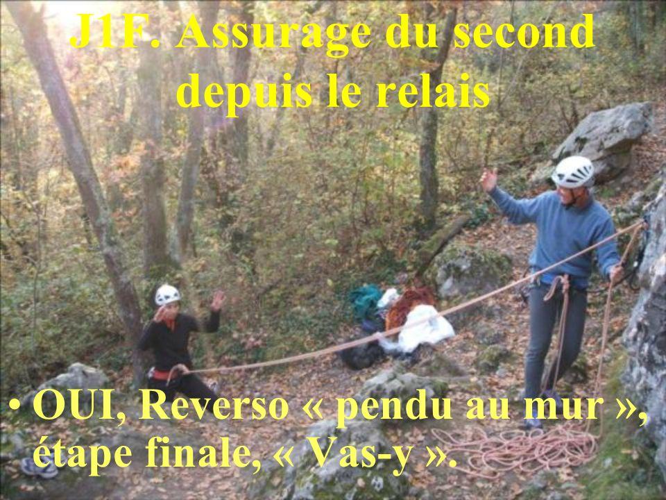 J1F. Assurage du second depuis le relais OUI, Reverso « pendu au mur », étape finale, « Vas-y ».