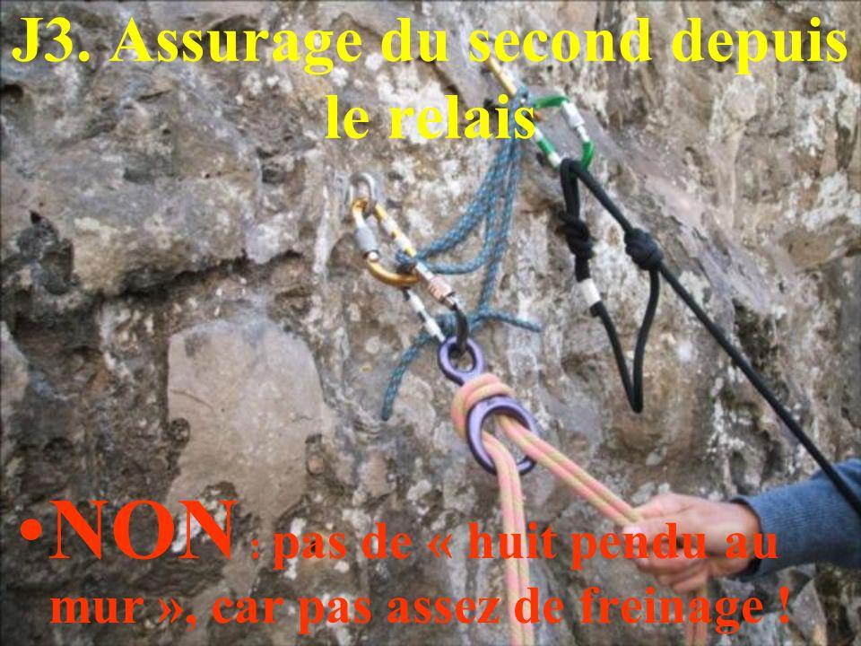 J3. Assurage du second depuis le relais NON : pas de « huit pendu au mur », car pas assez de freinage !