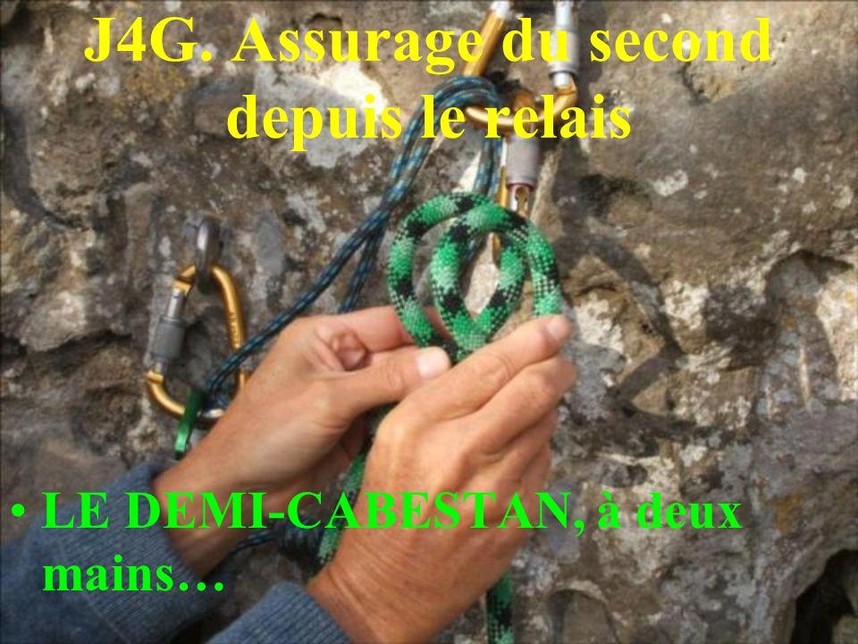 J4G. Assurage du second depuis le relais LE DEMI-CABESTAN, à deux mains…