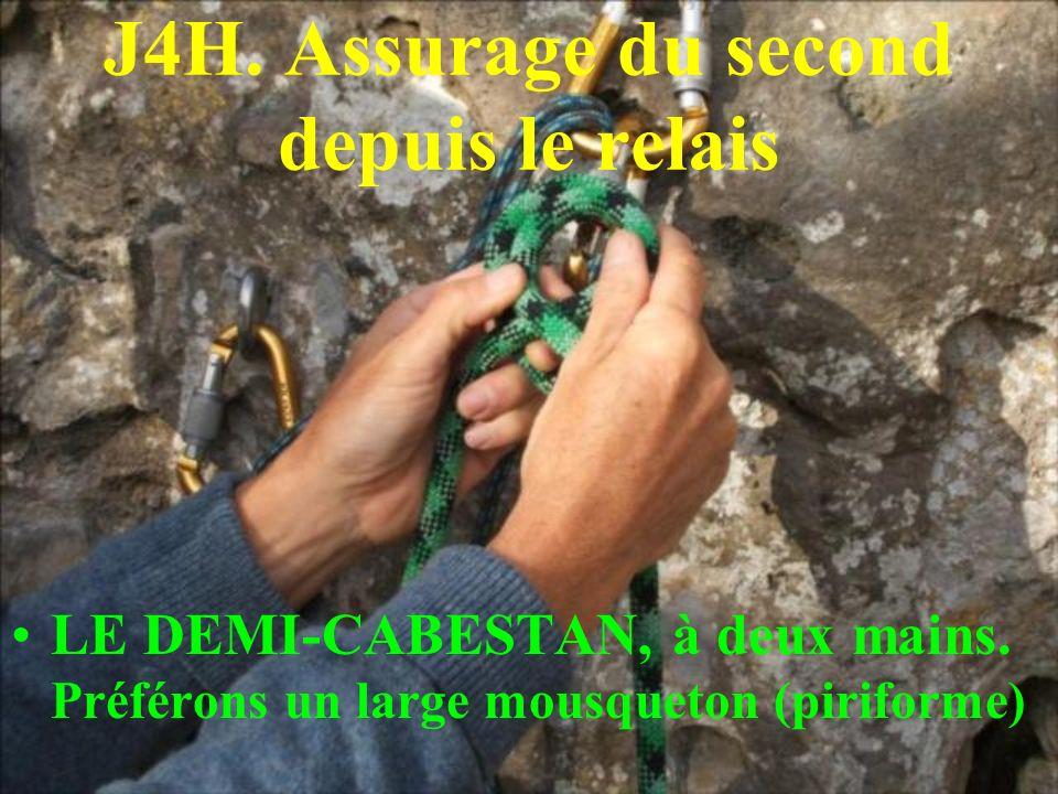 J4H. Assurage du second depuis le relais LE DEMI-CABESTAN, à deux mains. Préférons un large mousqueton (piriforme)