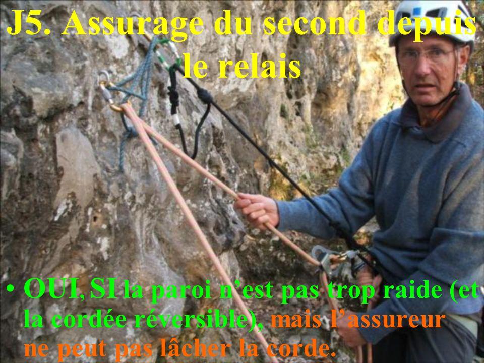 J5. Assurage du second depuis le relais OUI, SI la paroi nest pas trop raide (et la cordée réversible), mais lassureur ne peut pas lâcher la corde.