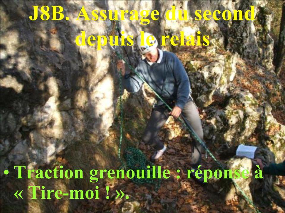 J8B. Assurage du second depuis le relais Traction grenouille : réponse à « Tire-moi ! ».