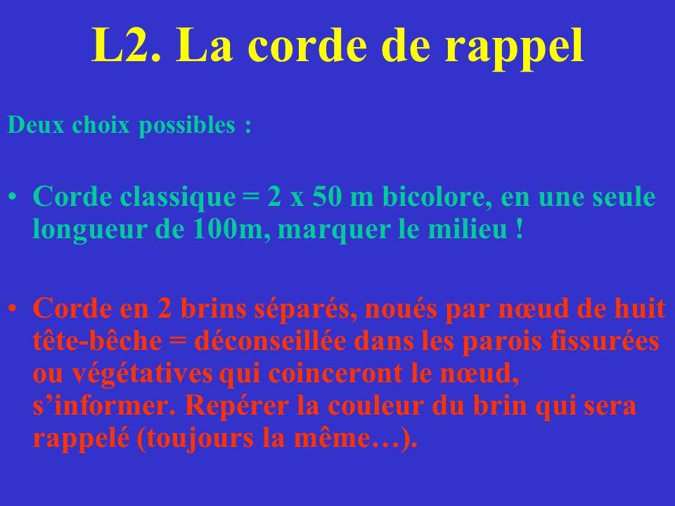 L2. La corde de rappel Deux choix possibles : Corde classique = 2 x 50 m bicolore, en une seule longueur de 100m, marquer le milieu ! Corde en 2 brins