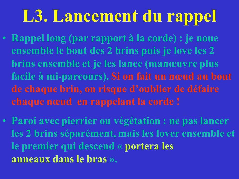 L3. Lancement du rappel Rappel long (par rapport à la corde) : je noue ensemble le bout des 2 brins puis je love les 2 brins ensemble et je les lance