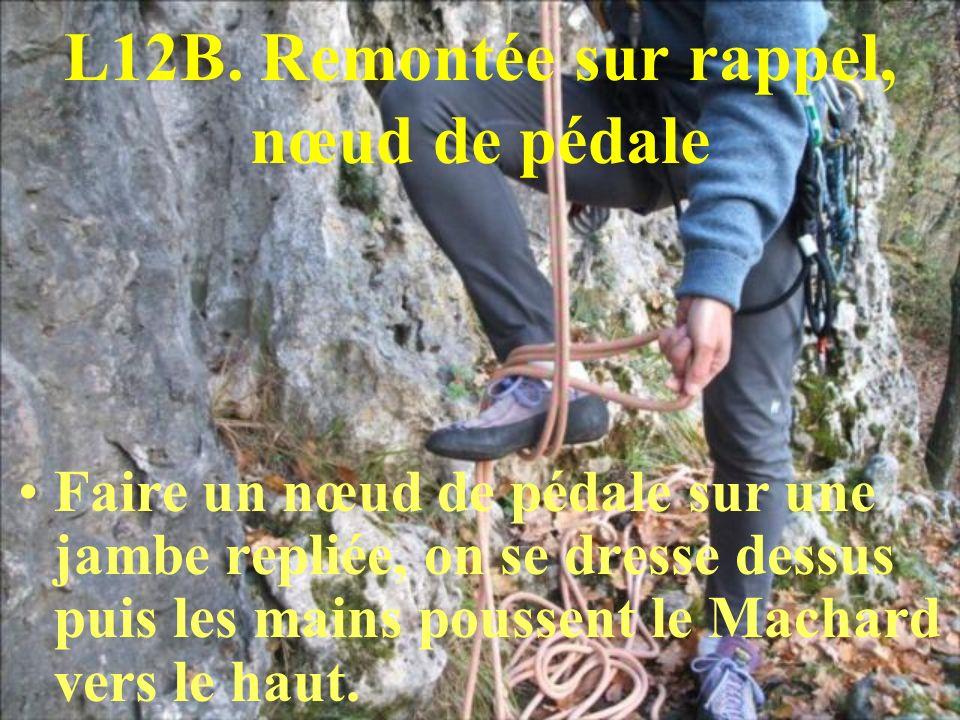 L12B. Remontée sur rappel, nœud de pédale Faire un nœud de pédale sur une jambe repliée, on se dresse dessus puis les mains poussent le Machard vers l