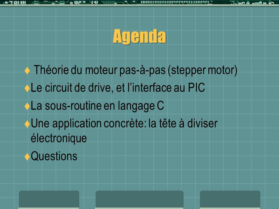 Agenda Théorie du moteur pas-à-pas (stepper motor) Le circuit de drive, et linterface au PIC La sous-routine en langage C Une application concrète: la