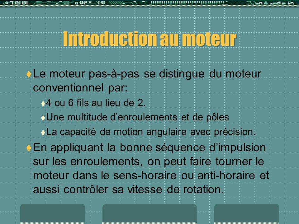 Introduction au moteur Le moteur pas-à-pas se distingue du moteur conventionnel par: 4 ou 6 fils au lieu de 2. Une multitude denroulements et de pôles