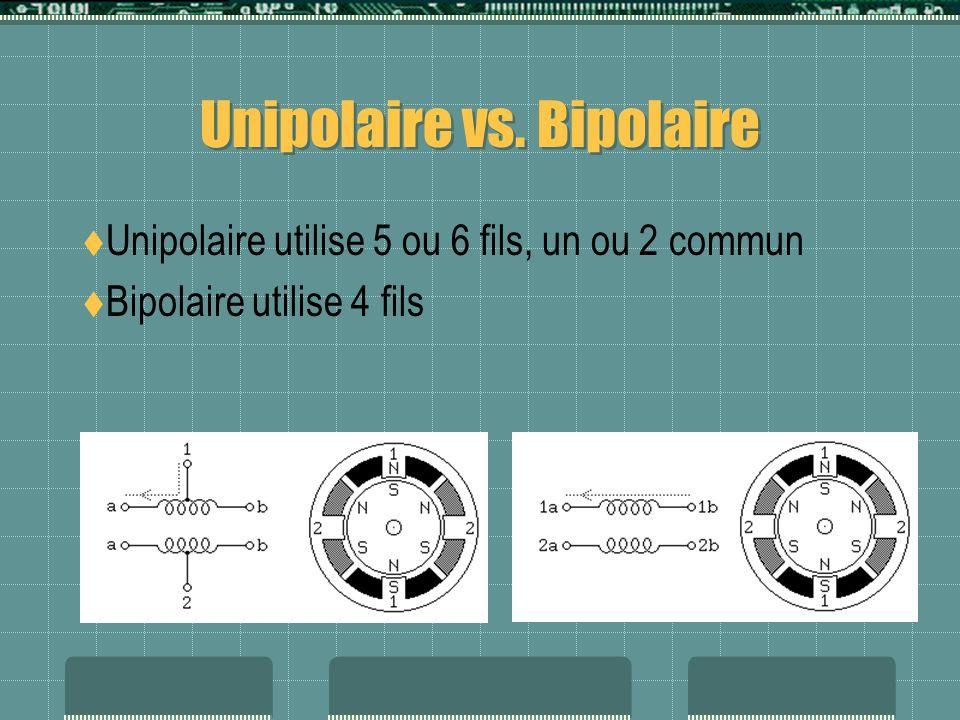 Unipolaire vs. Bipolaire Unipolaire utilise 5 ou 6 fils, un ou 2 commun Bipolaire utilise 4 fils