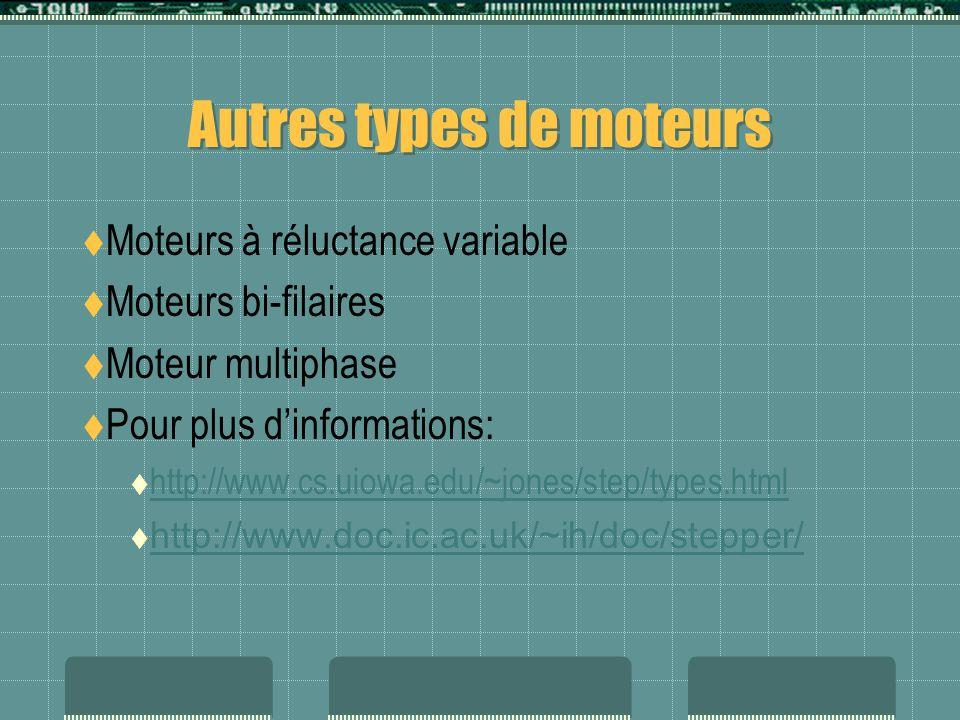 Autres types de moteurs Moteurs à réluctance variable Moteurs bi-filaires Moteur multiphase Pour plus dinformations: http://www.cs.uiowa.edu/~jones/st