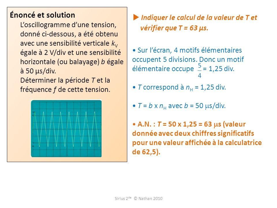 Indiquer le calcul de la valeur de T et vérifier que T = 63 µs.