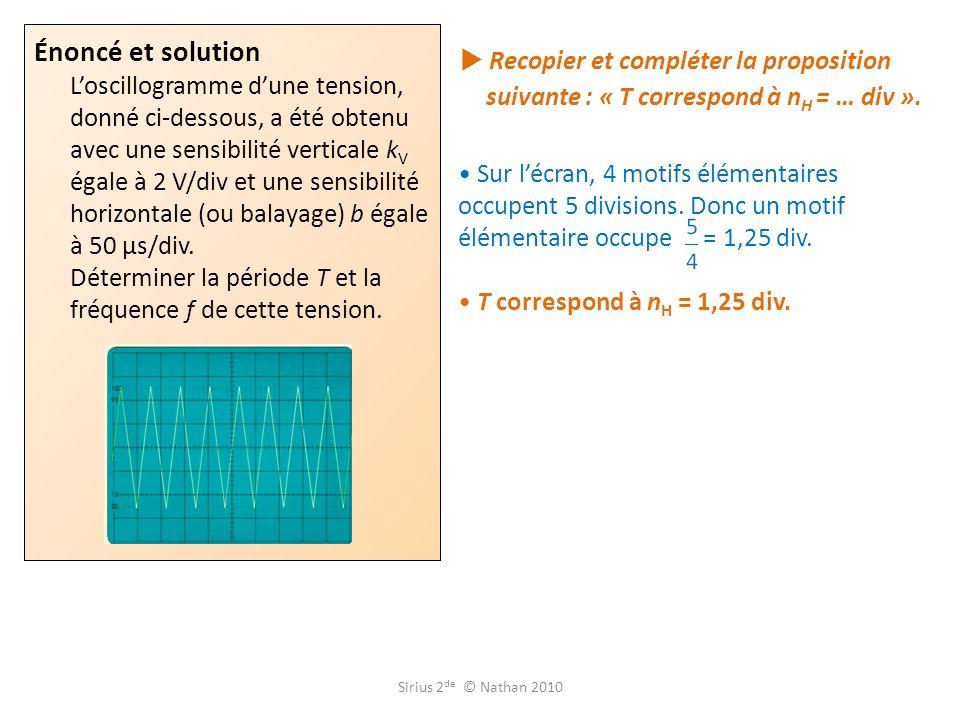Recopier et compléter la proposition suivante : « T correspond à n H = … div ».