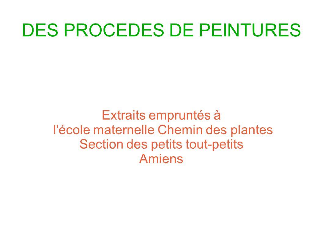 DES PROCEDES DE PEINTURES Extraits empruntés à l'école maternelle Chemin des plantes Section des petits tout-petits Amiens