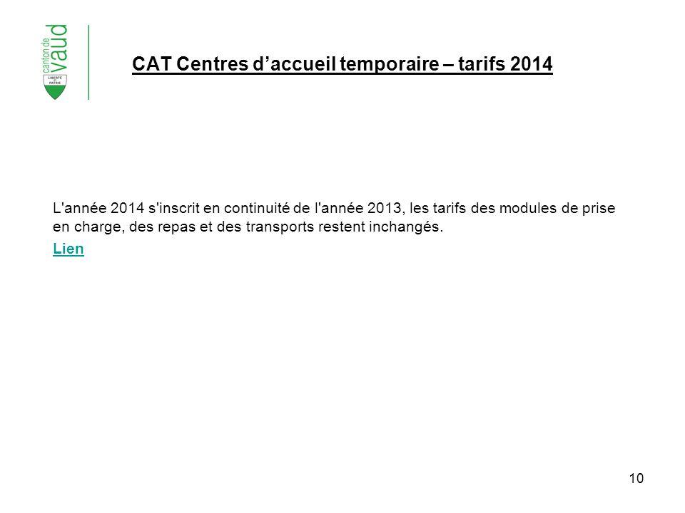 10 CAT Centres daccueil temporaire – tarifs 2014 L'année 2014 s'inscrit en continuité de l'année 2013, les tarifs des modules de prise en charge, des