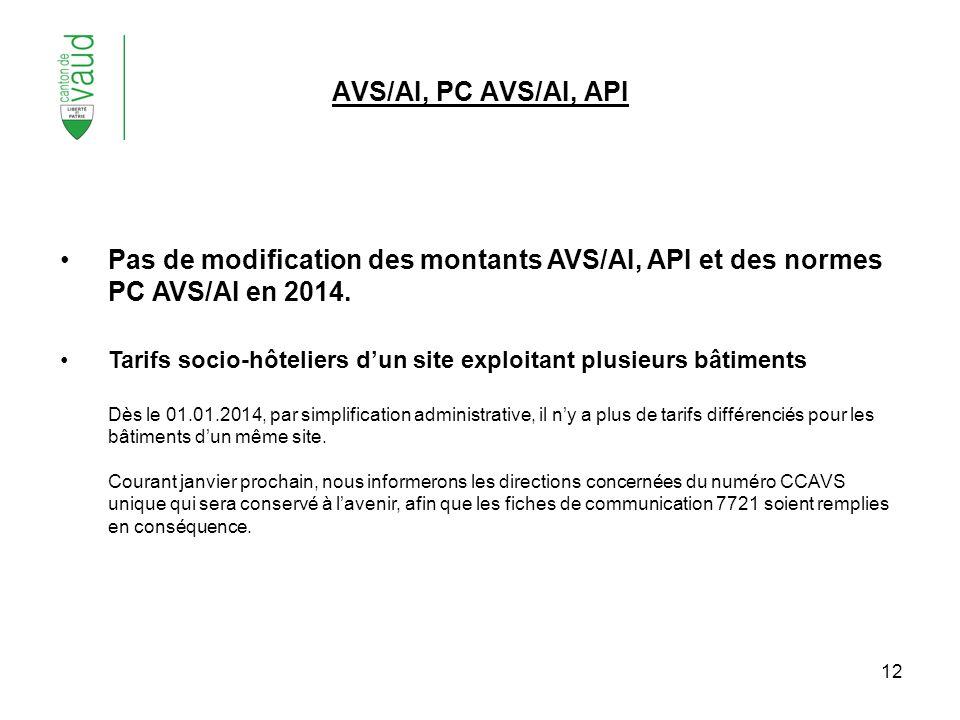 12 Pas de modification des montants AVS/AI, API et des normes PC AVS/AI en 2014. Tarifs socio-hôteliers dun site exploitant plusieurs bâtiments Dès le
