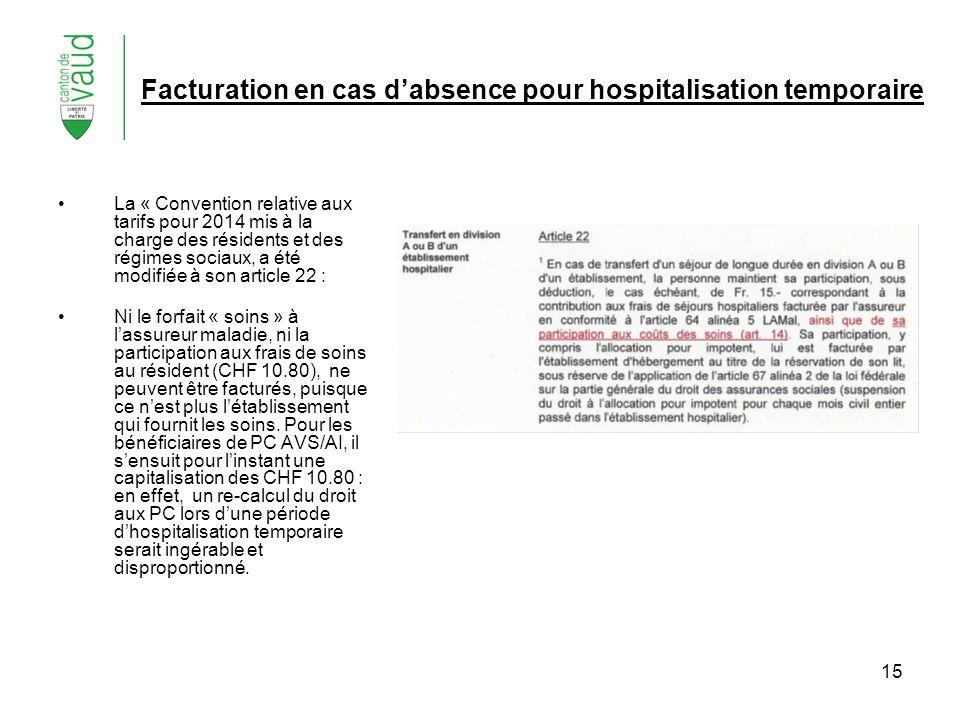 15 Facturation en cas dabsence pour hospitalisation temporaire La « Convention relative aux tarifs pour 2014 mis à la charge des résidents et des régi