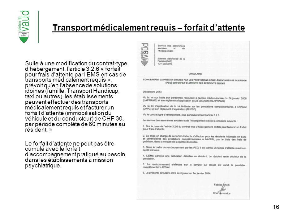 16 Transport médicalement requis – forfait dattente Suite à une modification du contrat-type dhébergement, larticle 3.2.6 « forfait pour frais dattent