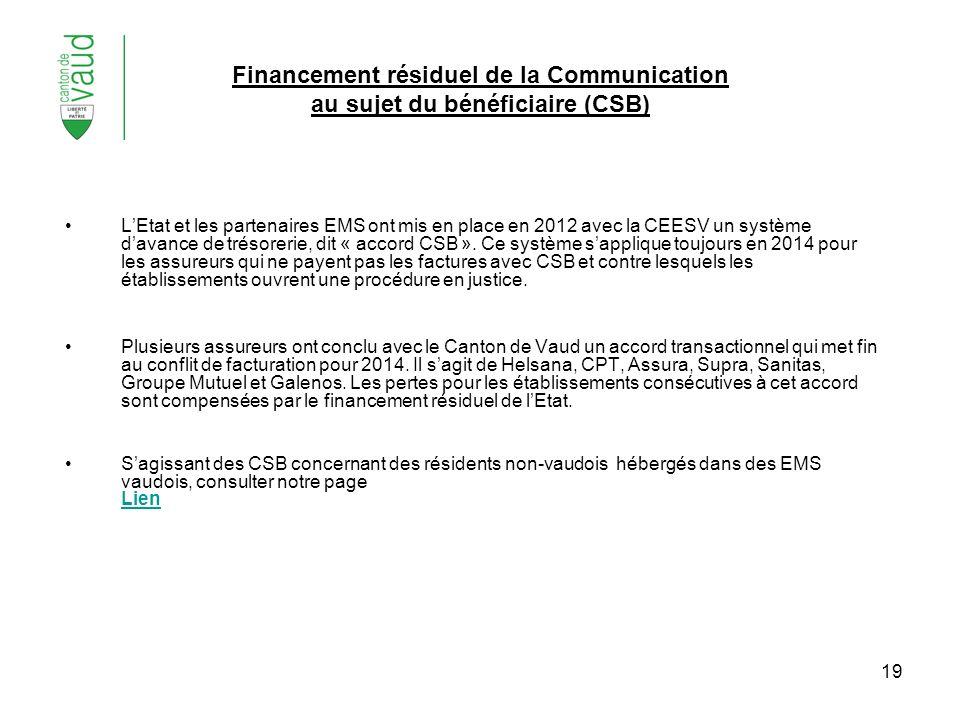 19 Financement résiduel de la Communication au sujet du bénéficiaire (CSB) LEtat et les partenaires EMS ont mis en place en 2012 avec la CEESV un syst
