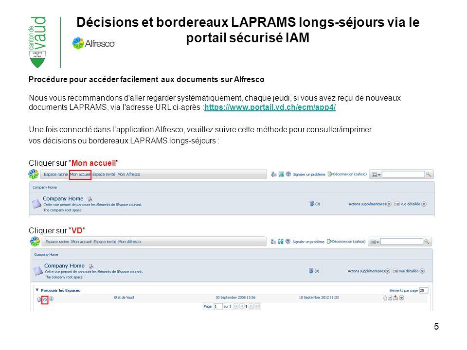 6 Cliquer sur SASH Cliquer sur le numéro qui correspond à votre établissement Puis Cliquer à choix sur Bordereaux LAPRAMS LS/Décisions LAPRAMS - LASV Vous pourrez ainsi consulter/imprimer les fichiers pdf y relatifs Décisions et bordereaux LAPRAMS longs-séjours via le portail sécurisé IAM (suite)