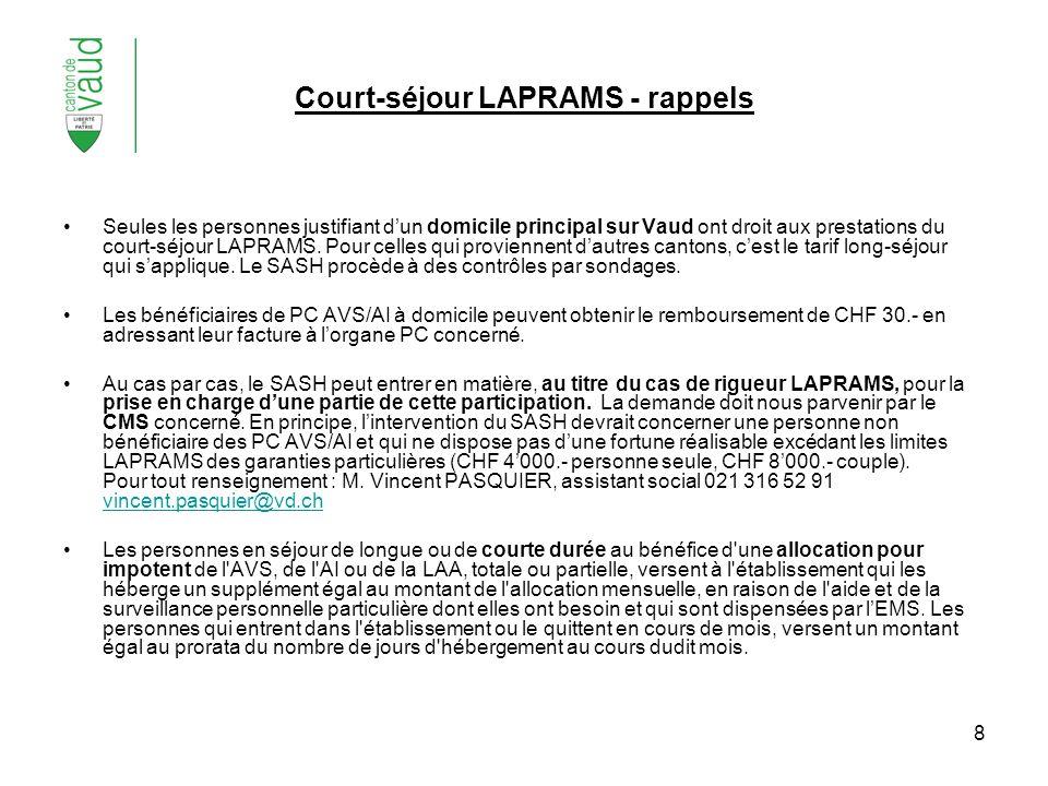 8 Court-séjour LAPRAMS - rappels Seules les personnes justifiant dun domicile principal sur Vaud ont droit aux prestations du court-séjour LAPRAMS. Po