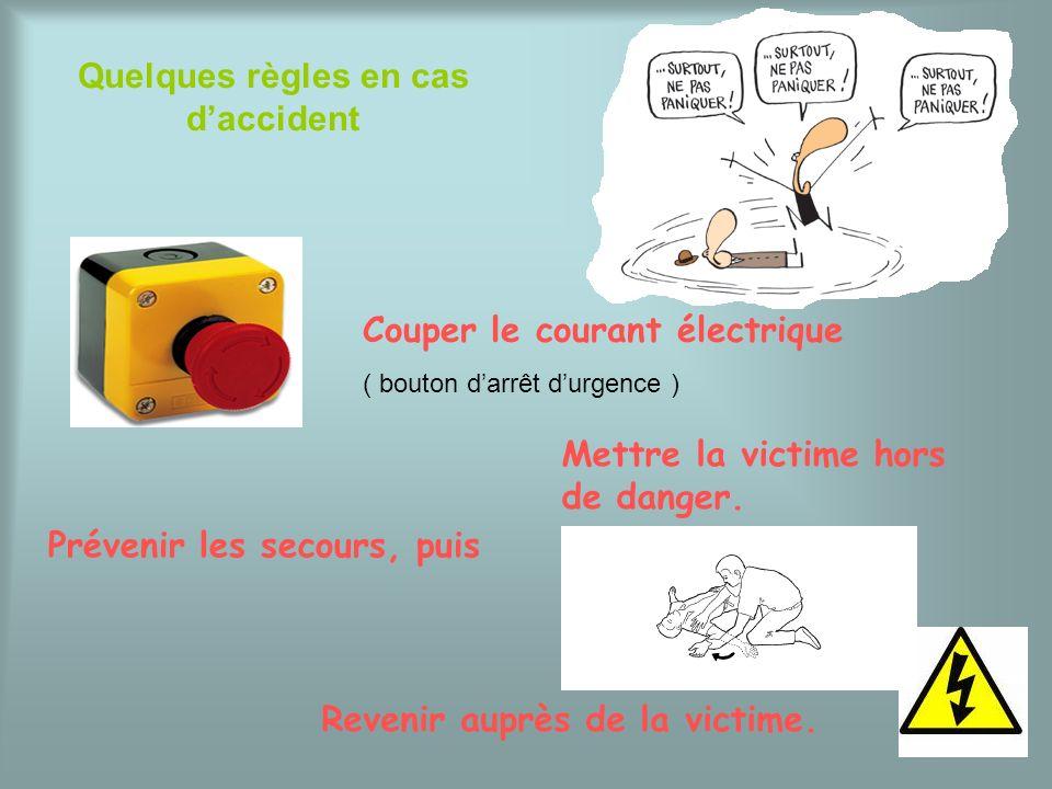 Quelques règles en cas daccident Couper le courant électrique ( bouton darrêt durgence ) Mettre la victime hors de danger. Prévenir les secours, puis