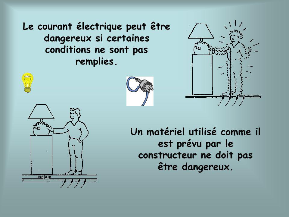 Le courant électrique peut être dangereux si certaines conditions ne sont pas remplies. Un matériel utilisé comme il est prévu par le constructeur ne