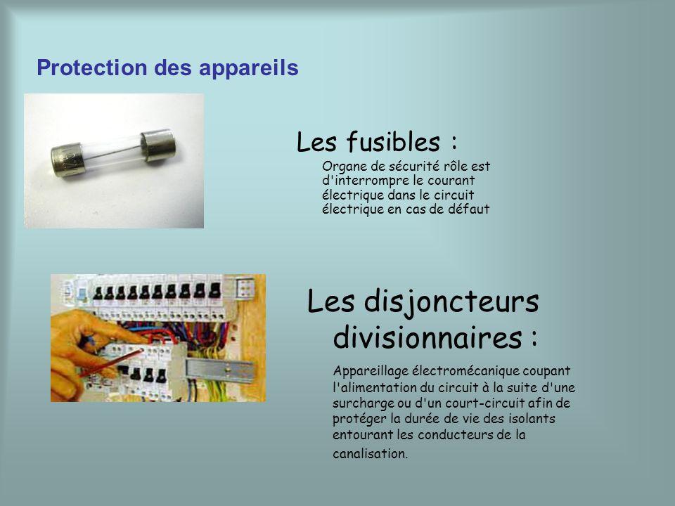 Protection des appareils Les fusibles : Organe de sécurité rôle est d'interrompre le courant électrique dans le circuit électrique en cas de défaut Le