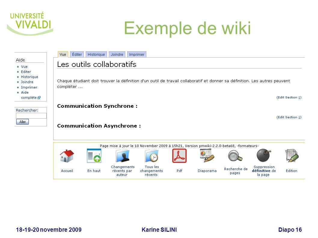 Karine SILINI18-19-20 novembre 2009Diapo 17 Wiki (suite)